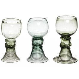 Three German wine glasses, 18th century