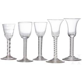 Five German liquor glasses, 18th/19th century