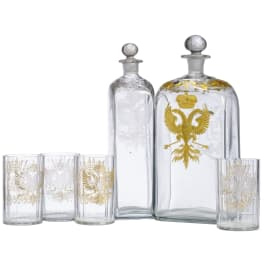 Two Austrian decanters and four glasses, 19th century