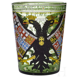 A German glass beaker, collector's replica in the style of the 17th century