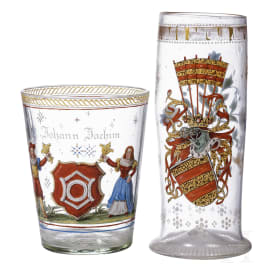 Two German painted glasses, 19th century