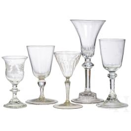 Five German liquor glasses, 19th century