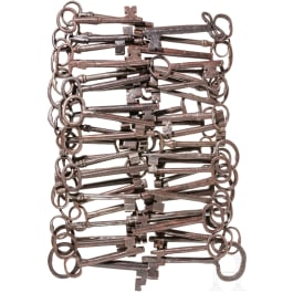 A collection of 60 German iron keys, 17th - 19th century