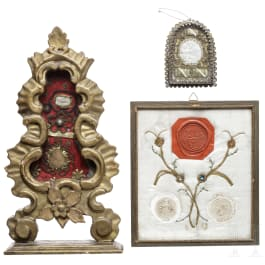 Two south German reliquaries and three framed seals, 17th/18th century