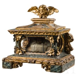 A small South German baroque display case with relic of the holy Urban, 18th century