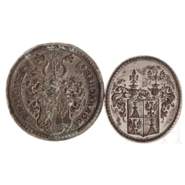 Two large German seals with silver matrixes, 17th/18th century