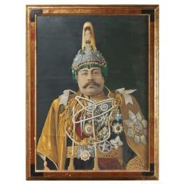 Large format portrait of the Maharajah Dev Shumshere, around 1900