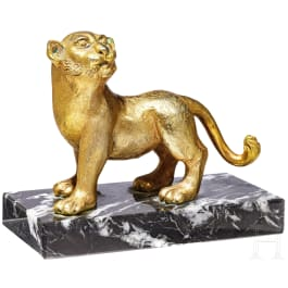 A gilded lion on stand, bronze, 19th - 20th century