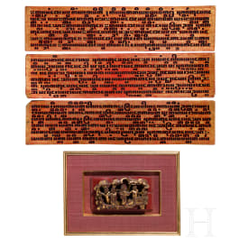 Three gilded Burmese prayer boards and a Chinese wood carving, 20th century