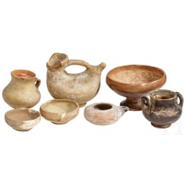 Seven ancient ceramic objects, 5th century B.C. - 3rd century A.D.