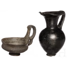 Two black Etruscan vessels, 8th - 6th century B.C.