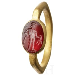 A Roman gold ring with gemstone, 2nd - 3rd century