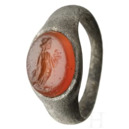 A Roman silver ring with gemstone, 2nd - 3rd century