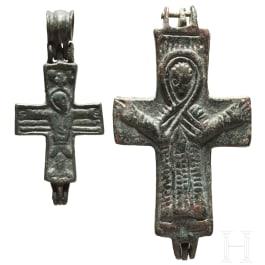Zwei Enkolpia, byzantinisch, 10. - 12. Jhdt.
