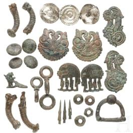 A set of Scythian horse fittings, bronze, 6th - 5th century B.C.