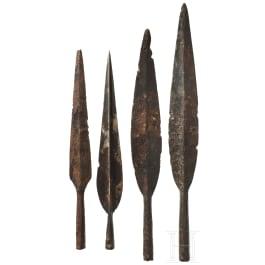 Four Celtic lance tips, 2nd - 1st century B.C.