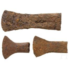 Three Celtic axe heads, iron, 3rd - 1st century B.C.