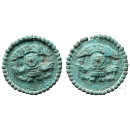 Pair of ear pegs with figural depiction, Moche culture, Peru, 1st - 8th century