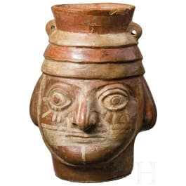 A Moche head vessel, Peru, 1st half 1st millenium AD