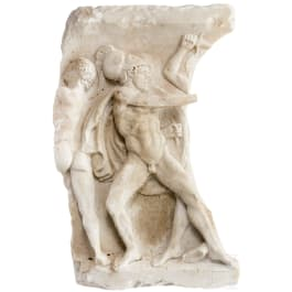 A marble relief with battle scene