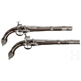 A deluxe pair of Albanian silver-mounted miquelet pistols, dated 1792