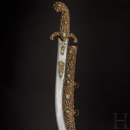 An Ottoman kilij set with corals, 19th century