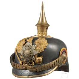 A helmet for an officer of the 7th Thuringian Infantry Regiment No. 96, II. Battalion (Principality Reuss), circa 1910