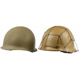 Two French/Taiwanese steel helmets in tropical color, 1950s - 1980s