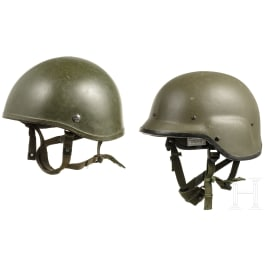 Two plastic helmets, Great Britain, 1980s - 1990s