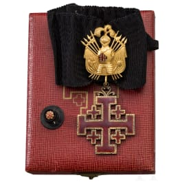 The Order of the Holy Sepulcher in Jerusalem - a Commander's cross with trophy in box
