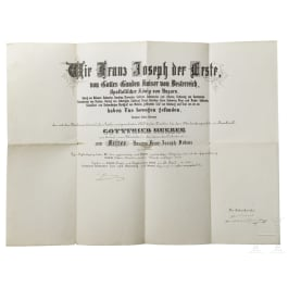 Imperial Austrian Order of Franz Joseph - a large document of appointment as Knight for the Imperial Councillor Gottfried Hueber, dated 1894