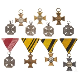 Five troop crosses, five service awards and one Commemorative Cross, 19th/20th century