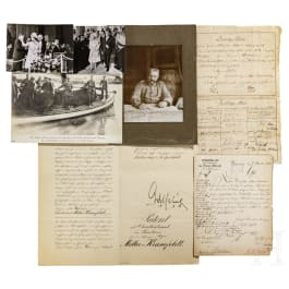 Mixed lot of German documents from the 19th and early 20th century, 3 signatures of Emperors Wilhelm I and II, photos of WW 1 and press fotos of Queen Elizabeth's state visit to Berlin in 1965