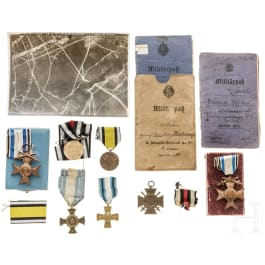 A group of Bavarian awards and a military passport of a field pilot