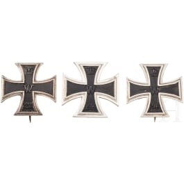 Three Iron Crosses 1st class 1914 with engravings