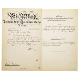 An award certificate for the Ernestine House Order, Commander's Cross 2nd Class, for Mr. Kalau vom Hofe, dated 1896