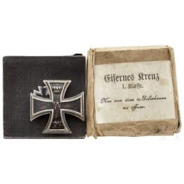An Iron cross 1914, 1st class, with engraving, case and cardboard box