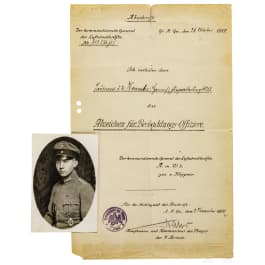 An award certificate for the Badge for Observation Officers in contemporary copy, dated 1917