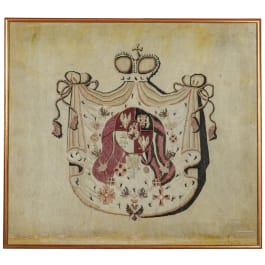 A woven Polish or Russian coat of arms, 19th century