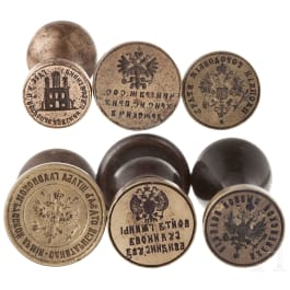 Six Russian official seals, 19th century