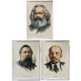 """Three posters """"Fathers of the Revolution"""" Marx, Engels and Lenin, 1980s"""