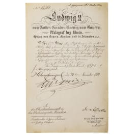 King Ludwig II of Bavaria - an autograph, dated 24.11.1884