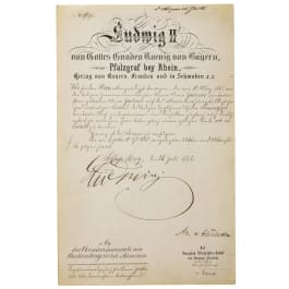 King Ludwig II of Bavaria - an autograph, dated 21.7.1885