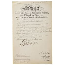 King Ludwig II of Bavaria - an autograph, dated 2.2.1886