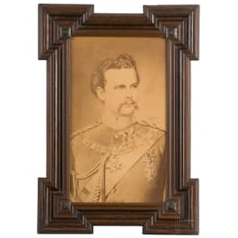 A portrait of King Ludwig II with owner's label of Princess Alfons