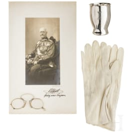 Prince Alfons of Bavaria - photo, gloves, glasses, silver cup