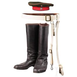 A field cap, a sabre belt and boots of a chevauleger, c. 1900