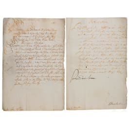 Friedrich III of Brandenburg, Duke in Prussia - autographs as Prince Elector in 1682 and as Elector in 1694