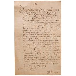 Kurfürst Friedrich III. zu Militärabgaben der Grafschaft Mansfeld, datiert 21.3.1699