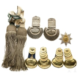 Saxony - a small collection of epaulettes and an emblem, circa 1900